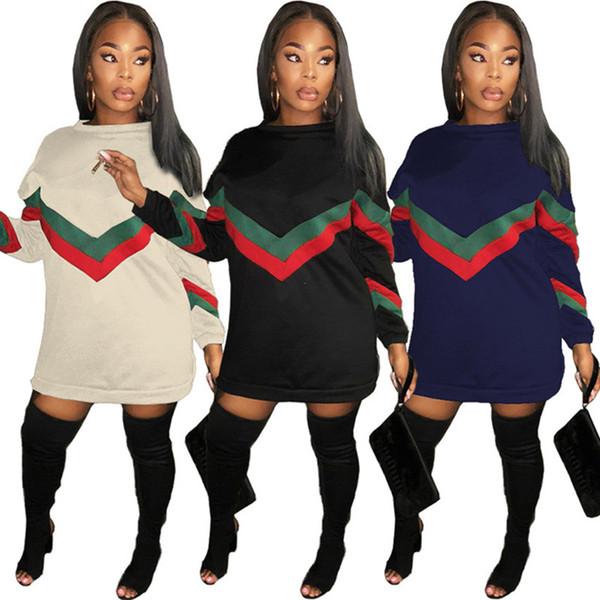 abito lungo felpa donna cappotto con cappuccio sciolto pullover top designer stripedcasual gonna autunno inverno vestiti hip hop streetwear dhl