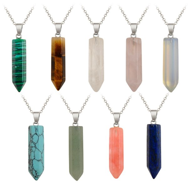 Stone Necklace Jewelry Cheap Healing Crystal Rose Quartz Opal Turquoise Tiger eye Stone Chakra Healing Point Natural Stone Pendant Necklace