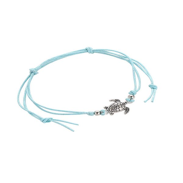 Retro hemp rope turtle feet chain hand woven ancient Silver Turtle Beach Anklet wholesale