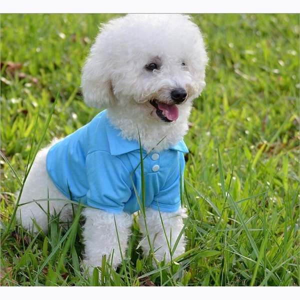 12pcs/lot Pure color cotton material Fashion Pet Dog Polo Shirts Clothes For Spring and Summer