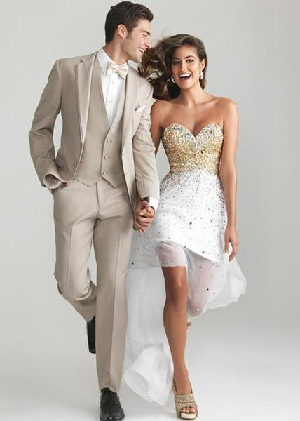 Feito Sob Encomenda Simples Khaki Smoking Ternos Dos Homens de Casamento Formal Noivo Melhores Homens Blazer Ternos Partido Prom 3 Peça Jaqueta + Calça + colete