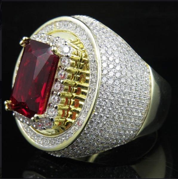 Personalidade Moda Masculina Das Mulheres Hip Hop Clássico Banhado A Ouro Cubic Zircon Pedra Grande Anel Vermelho us tamanho 5-12 #