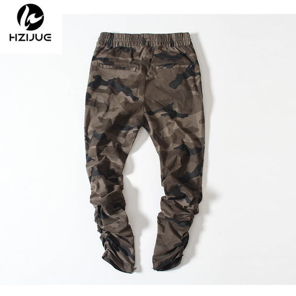 HZIJUE army Pants Camouflage Casual Skinny Zipper botton Sweatpants Solid Hip Hop high street Trousers Pants Men Joggers