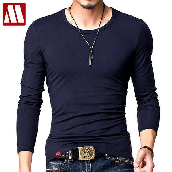 Hot 2018 New Spring Fashion Brand O-Neck Slim Fit Long Sleeve T Shirt Men Trend Casual Mens T-Shirt Korean T Shirts 4XL 5XL A005