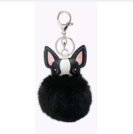 PU Puppy Portachiavi per borsa Ciondolo Lady Pompon Fur Dog Key Anelli Accessorio per auto 4 colori puri Coniglio accessorio di pelliccia regalo di nozze