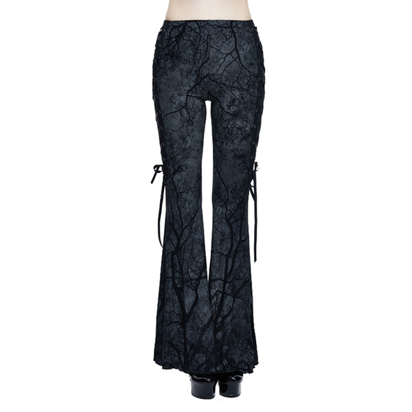 Punk Women's Bell-bottom Trousers Gothic Branch Printed Stretch Flare Pants Lace-up Slim Fit Bodycon Pants