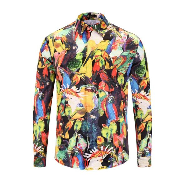 Wholesale- 2XL Plus Size Mens Long Sleeve Silk Cotton Shirts Floral Shirt Men Slim Fit Male Casual Imported Clothing Camisa Social T1