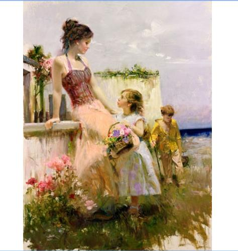 "High Quality PINO ""BASKET OF LOVE"" Handpainted & HD Print Impressionist Art oil painting,Home Decor Wall Art On Canvas Multi Sizes p72"
