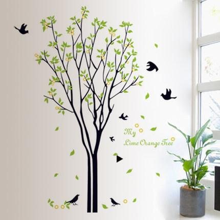 sticker 120*100 cm Large Green tree birds wall Decals for Living Room Bedroom 9094 TV Stickers Murals for kids rooms