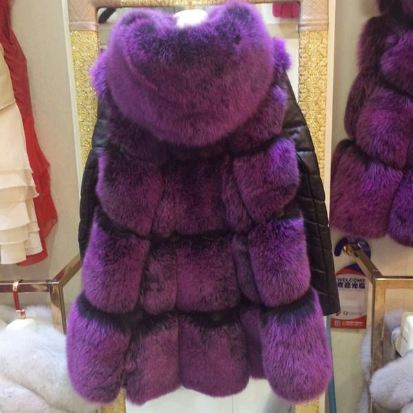 Abrigo de pieles de las mujeres con la manga desprendible del cuero verdadero de las ovejas, 2016 Abrigos encapuchados de la piel de zorro natural caliente del estilo de otoño de Rusia