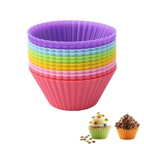 100 teile / los 7 cm Muffin Cupcake Silikon Tassen Runde Für Muffin Cupcake DIY Fondant Muffin Kuchen Tassen Formen