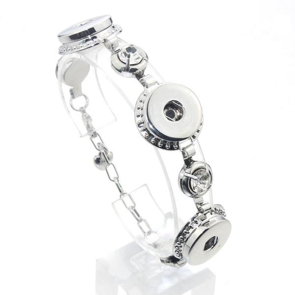 2017 New Arrival Length 17cm-23cm Rhinestones Bracelet Fit 18/20mm Metal Snaps Button Bracelet Jewelry For Women 040507