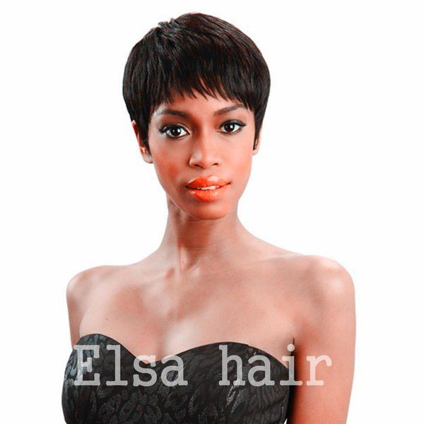 Cheap Short Pixie Cut Human Natural Black Brazilian Hair Glueless Full Wig For Black Women Human Black Hair African American Pixie Short Wig