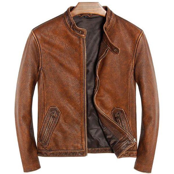 Vintage Brown Men Classic Casual Echtes Lederjacke Plus Größe 5XL Slim Fit Echtes Rindsleder Herbst Russische Leder Männlichen Mantel