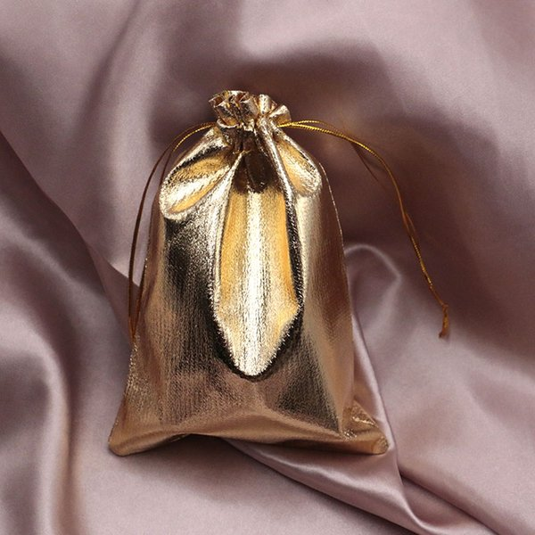100pcs/lot Silver Gold Organza Drawable Small Size 13x18cm 15x20cm Christmas Wedding Candy Party Pouch Bag Gifts Jewelry Pouches