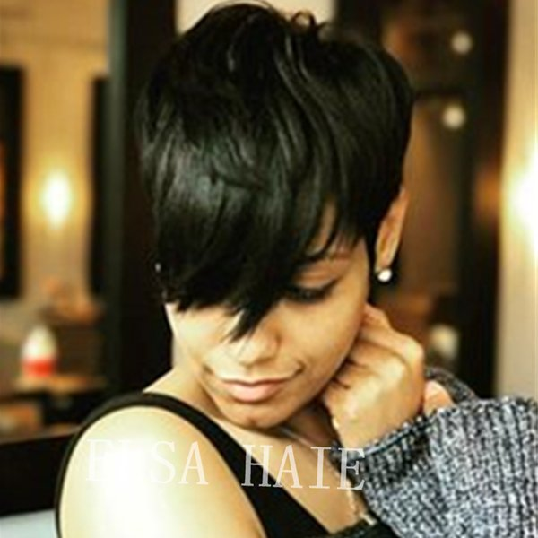 Wigs Human Hair Wavy Pixie Cut Layered Haircut With Bangs Side Part Short Machine Made Wig for black Women's