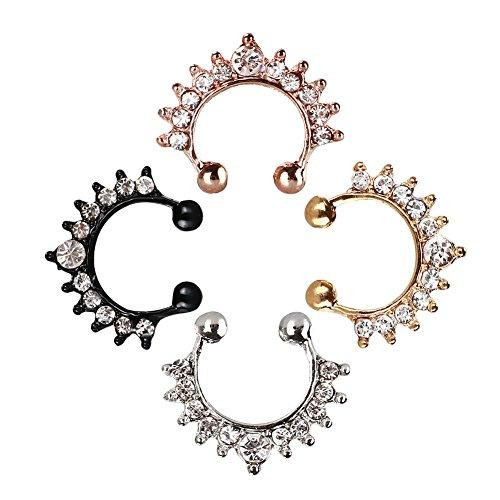 4 Styles Fake Septum Jewelry Allopy Nose Ring Hanger Clip On Clicker Crystal Piercing Non Piercing Body Jewelry G87L