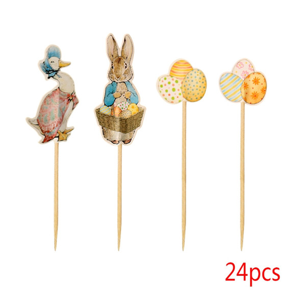 Easter Bunny Cake Cupcake Toppers Rabbit Duck Egg Party Supplies Kid 24Pcs Picks Drop Ship