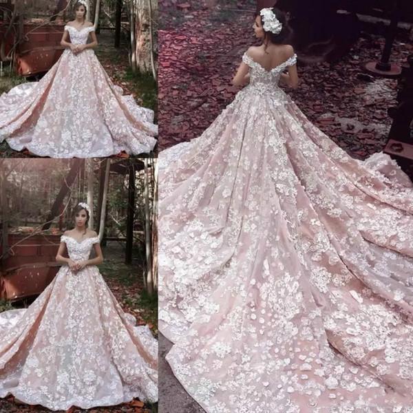 A Line Wedding Dresses Tulle Lace 3D Floral Applique Pink Elie Saab Off Shoulder Church Train Country Wedding Dresses Dubai Arabic Bridal