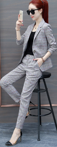 2018 Spring and Autumn Fashion Casual Suit Plaid Suit Women's Korean version of England wind two-piece tide