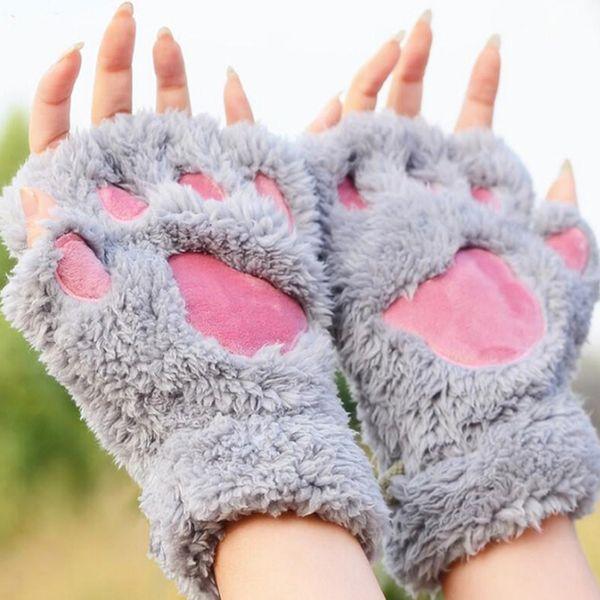 Ladies Winter Fingerless Gloves,Fluffy Bear Cat Plush Claw Half Finger Glove,Soft Half Covered Women Female Gloves Mittens