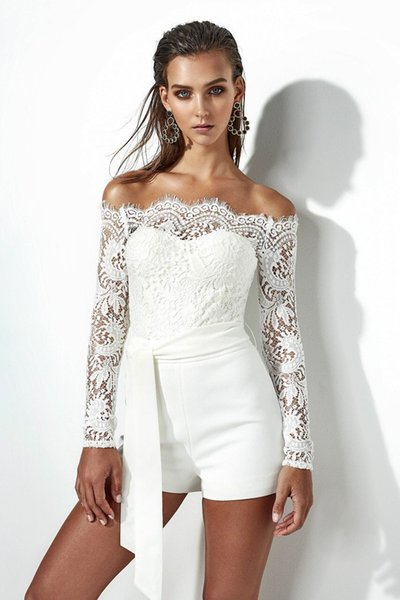 2018 Sexy Tube Top Lace Long Sleeve Lace Jumpsuit Off shoulder Lace Rompers Womens Summer Jumpsuit Sexy Ladies Casual women
