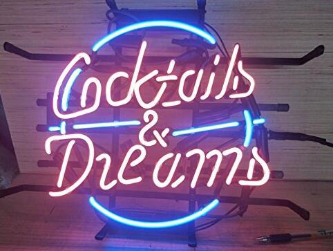24*20 inch Cocktails and dreams Glass Neon Sign Flex Rope Neon Light Indoor/Outdoor Decoration RGB Voltage 110V-240V