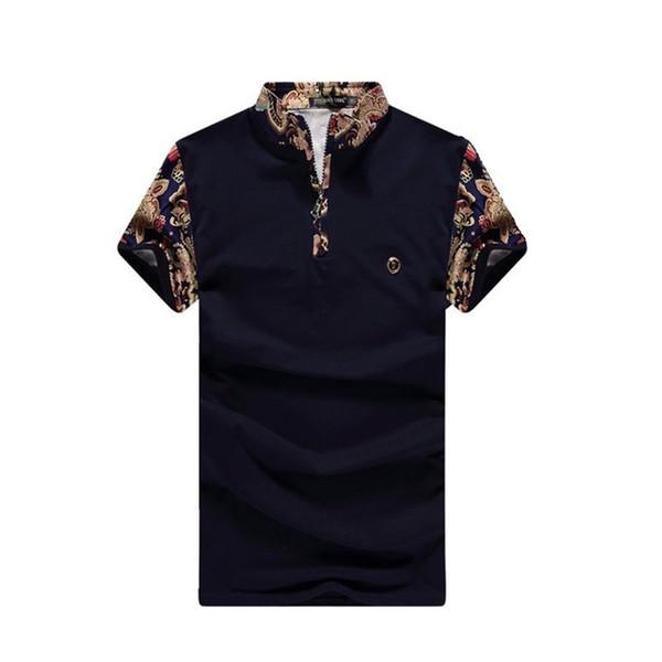 New summer men's shirt fashion color matching pattern stand collar short sleeve T-shirt