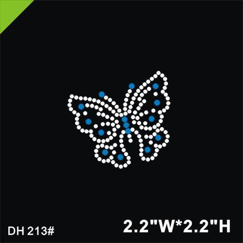 Free shipping Lovely butterfly design hot fix rhinestones,heat transfer motif,applique for garment embellishment DIY DH213#
