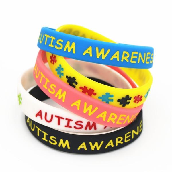 Красочные Аутизм Осведомленности Браслеты Головоломки Силиконовые Браслеты Браслеты Ежедневное Напоминание, Носить Красочные Браслеты Подарки 5 Цветов