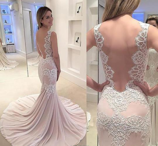 2018 Light Pink Mermaid Long Prom Dress Pretty Appliques Lace Formal Holidays Wear Graduation Evening Party Gown Custom Made Plus Size