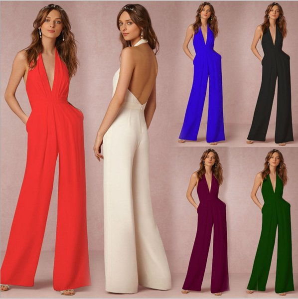 Elegant Sexy Jumpsuit Sleeveless Solid Romper Fashion Summer Loose Backless Wide Leg Playsuit Hang Neck Overalls Women Clothing