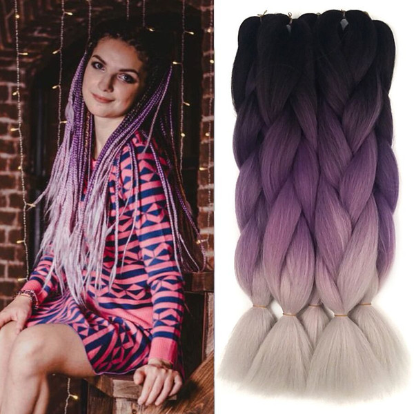 Black purple grey raiding Hair ombre Two Tone High Temperature Fiber expression braiding hair 100g/piece synthetic braiding hair Extensions