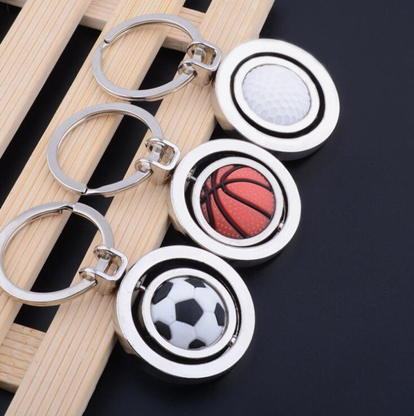 top popular 3D Sports Rotating Basketball Football Golf Keychain Keyring Souvenirs Pendant Keyring Key Fob Ball Gifts KKA4020 2020