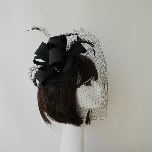 Fashion Black Bridal Hats Veils Hat Wedding Ribbon Gauze lace Feather Flower 2018 New Party Hair Clips Caps Bridal Accessories