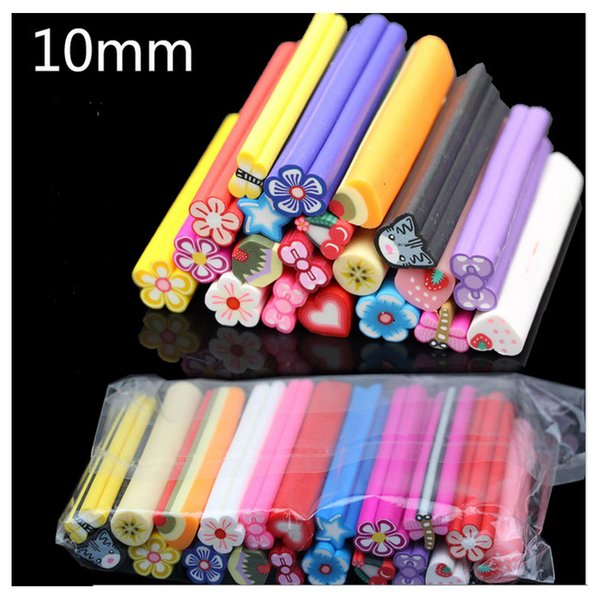2015 10mm Large Mixed Nail Art Fimo Polymer Clay Rods for Nail Art Decorations 3d Stickers Gel Polish Accessories