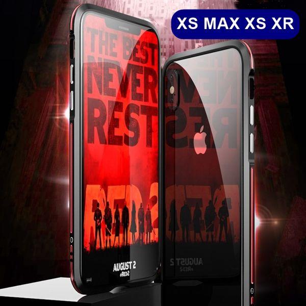 Metal Bumper Case For Iphone XS MAX XR Transparent 9H Tempered Glass Case For Iphone XS Aluminum Metal Case Funda Coque