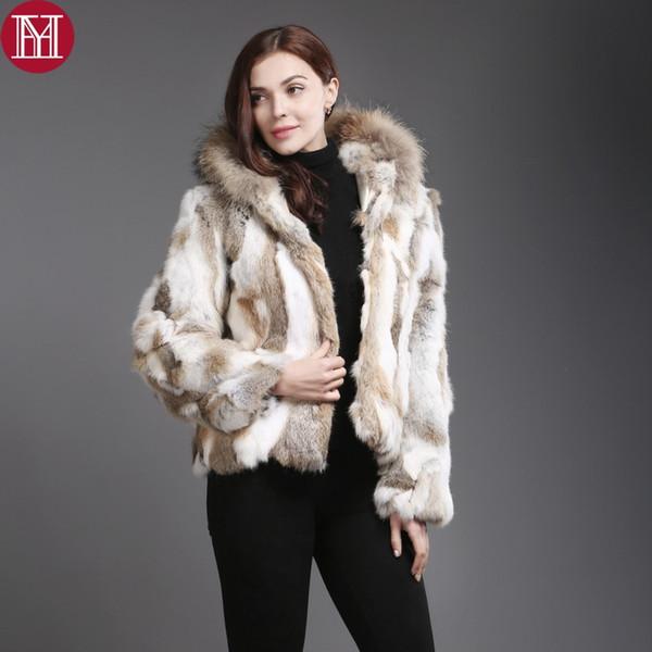 New Natural Coat Women Winter Short Jacket With Raccoon Collar Real Rabbit Fur Hooded Overcoat C18110301
