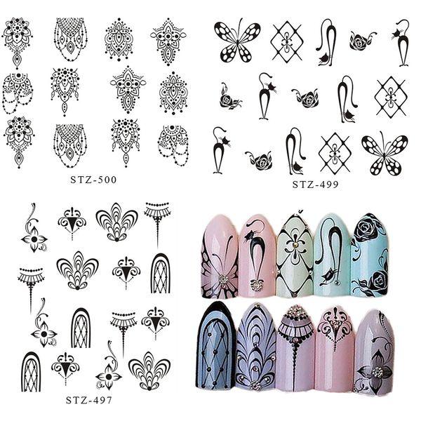 2018 New Brand Professional DIY Nail Art Taoo Stickers High Quality Vintage Flower Black DIY Nail Sticker