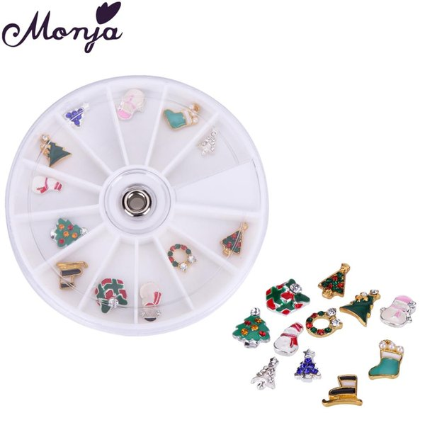 Nail Art Metal 3D 10mm Christmas Tree Snowman Gift Hollow Flakes Multi Designs Decoration Accessories
