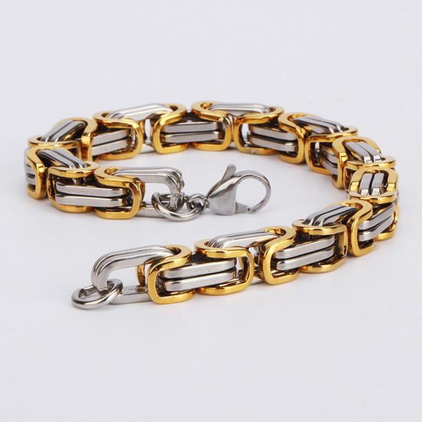 Braccialetto in acciaio inossidabile con catena a maglie a bretelline per uomo pesante 8MM Braccialetti a maglia larga per uomo con bretelle 2018