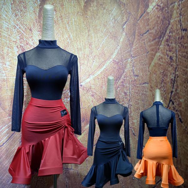 Women Latin Dance Dress Suit Cha Cha/Rumba/Samba/Tango Fishbone Dress Long Sleeve Training Salsa Set W2