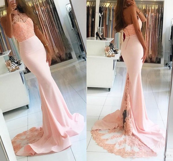 2017 Mermaid Halter Pink Formal Prom Party Dresses Top Lace Vestidos De Novia African Backless Beads Evening Event Wears Celebrity Gowns