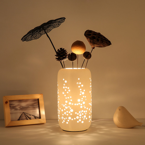 2019 Creative Desk Lamp Fashion Ceramic Table Lamp Romantic Bedroom Flower  Arranging Desk Lamp Bedroom Living Room Study Led Desk Lights From ...
