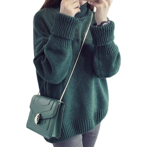 854a139dbe Fall Winter Clothes High-necked Pullover Korean Sweater Women long-sleeved  Loose Jumper Large Size Clothing Vestidos LXJ198