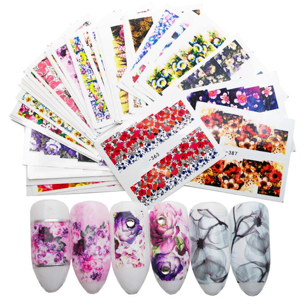 40Pcs/Set Nail Water Decals Sticker Flowers Watermark Slider For Nails Art Decoration Wraps Nail Manicure Accessories 4SZJT3053