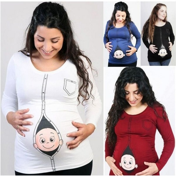 4ddbb5782 Women Pregnant Maternity Tops Female long sleeve Casual Funny T-Shirts  Spring Autumn O Neck