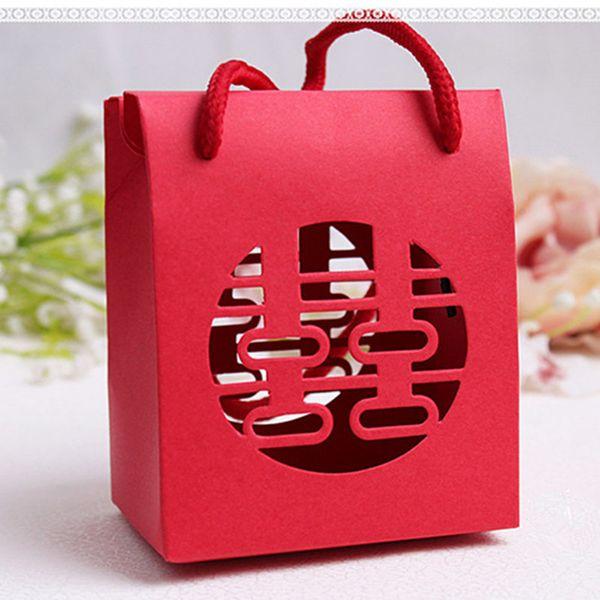 Envío gratis suministros de boda bolsa de papel bolsa de regalo de estilo chino caja de caramelo rojo, bolsa de regalo de empaquetado de la boda grande jc-352