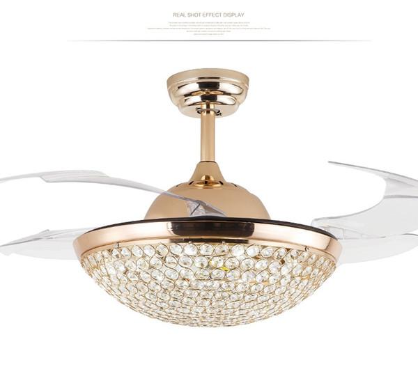 42 inch Modern Ceiling Fans Lights Modern Invisible Fan Ceiling Fan 220V 110V LED Chandelier with Remote Control Living Room Pendant lamp