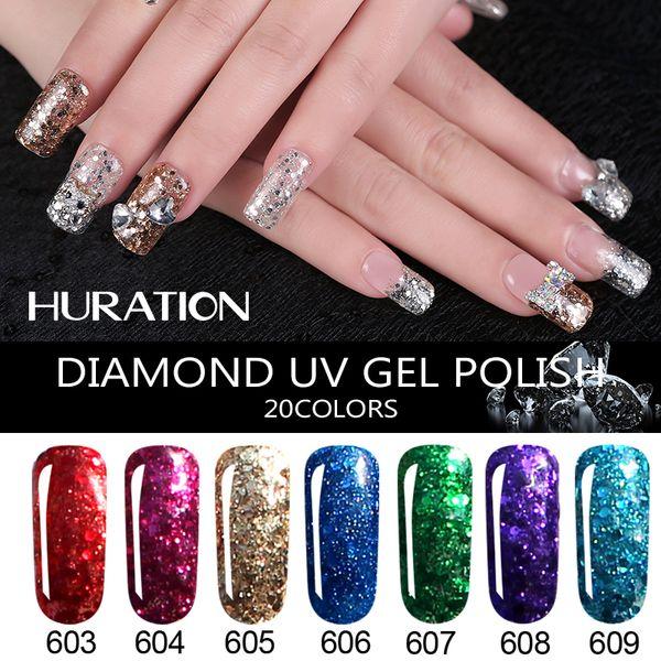 Huration 3D Diamond 8ML Glitter Nail Gel Polish Soak Off 20 Colour Manicure Art UV LED Lamp Semi Permanent Diamond Gel Varnish